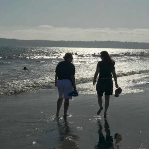 Beach walk with Catherine Lane